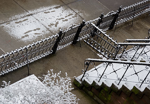 ニューヨーク初雪じゃないけど、初めて積もった雪